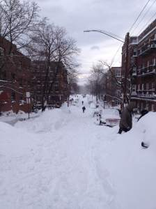 The snow-covered streets of Cleveland Circle in 2013.