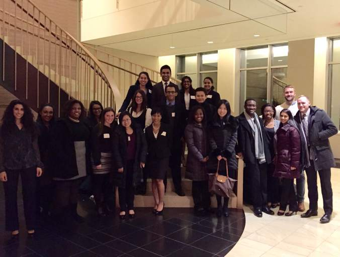 Students from New York University School of Law, Brooklyn Law School, Columbia Law School, and Boston College Law School pose for a photo with members of Cadwalader's Legal Recruiting team