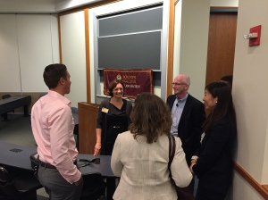 Student leaders from the Business & Law Society chat with the Senior Vice President and Chief Legal Counsel of Pixar