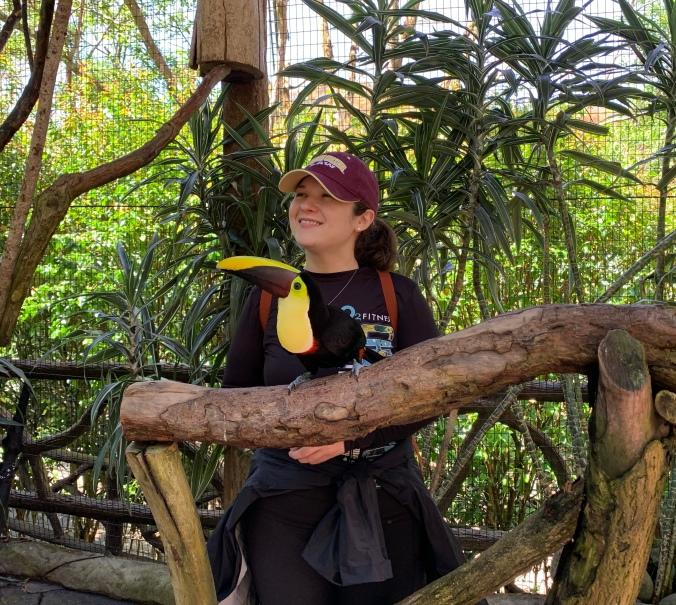Marija with a toucan